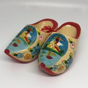 Vintage Wooden Dutch Clogs Hand-painted Windmills